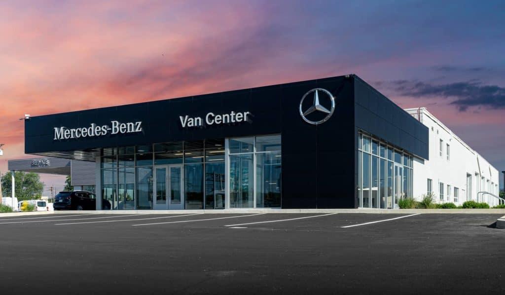 Mercedes Van Center Front exterior sunset