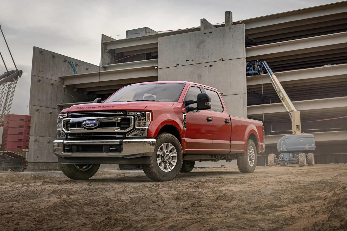 Super Duty Pickup parked on dirt construction site