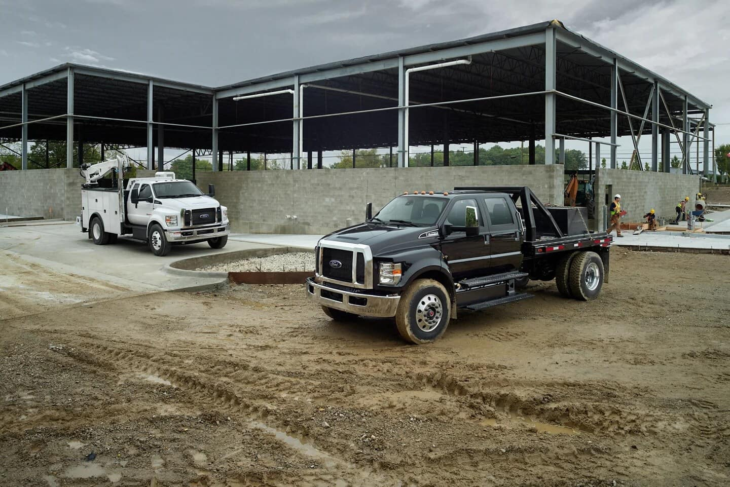 two Ford trucks at construction site