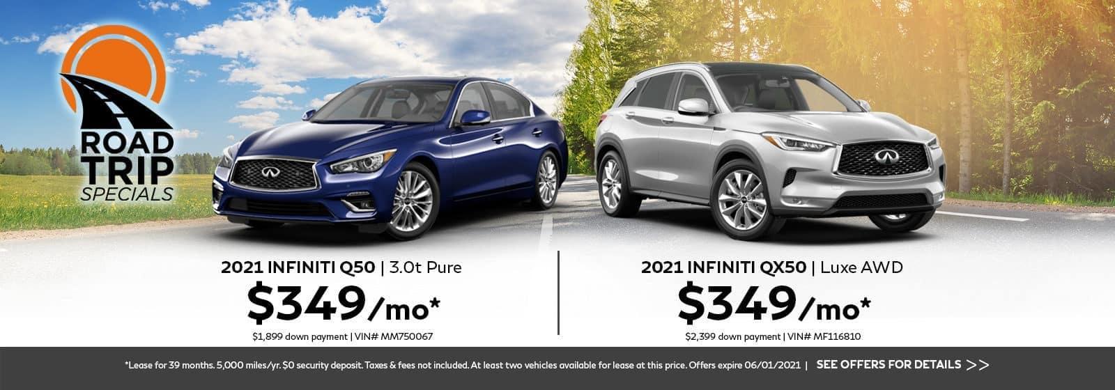 2021 INFINITI Q50 and 2021 INFINITI QX50