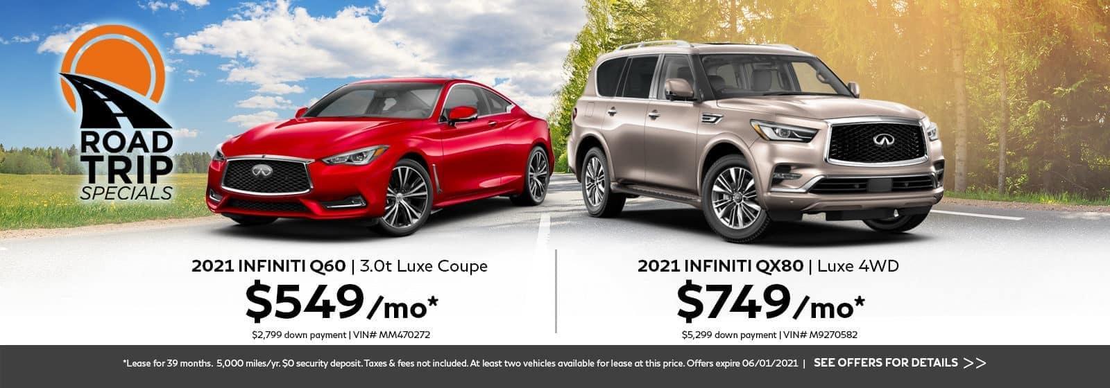 2021 INFINITI Q60 and 2021 INFINITI QX80