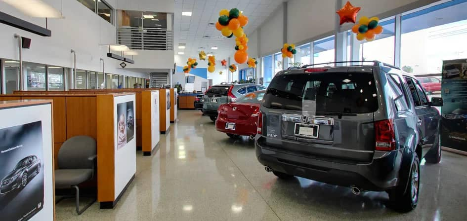 interior view of finance booths at dealership