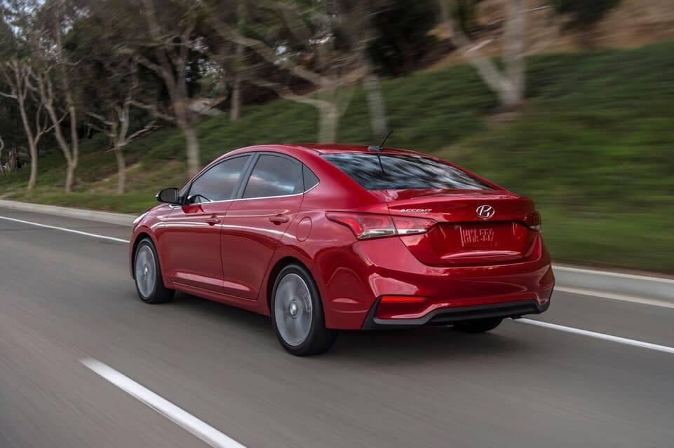 2021 Accent rear view driving