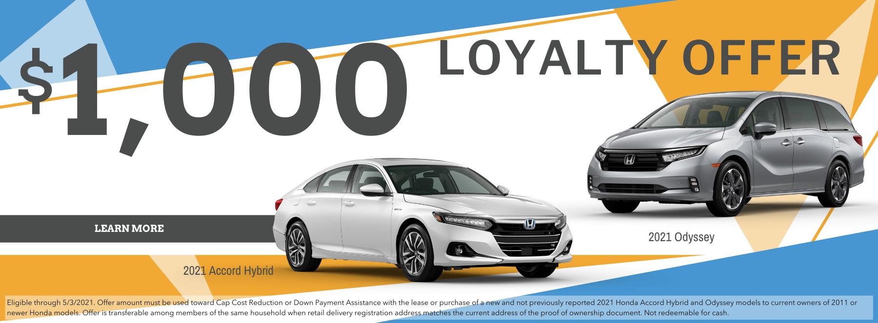 Honda Loyalty offers 1000