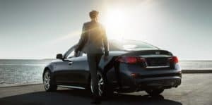 man with q50 car