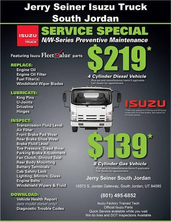 izuzu truck service specials