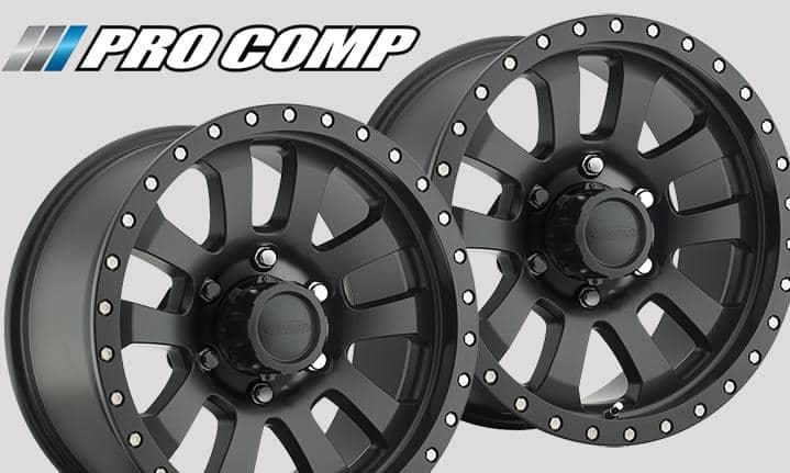 a pair of Pro Comp Alloy wheels