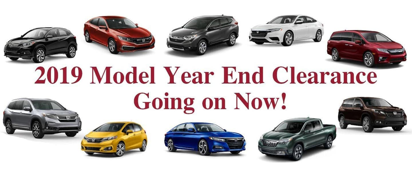 clearance sales of various Honda cards in a circle