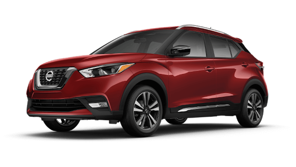 A red 2019 Nissan Kicks SR