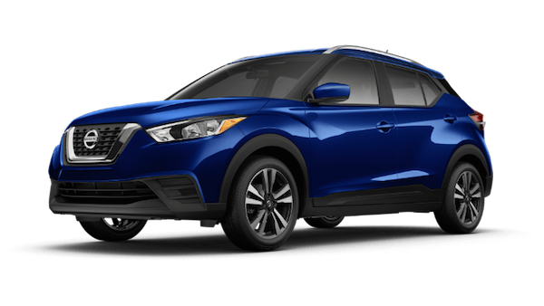 A blue 2019 Nissan Kicks SV