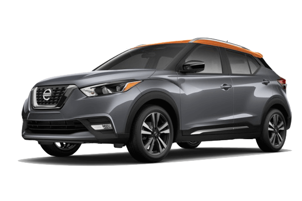 A grey and orange 2019 Nissan Kicks