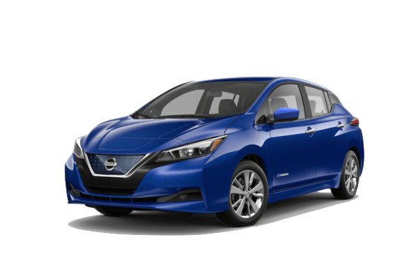 A blue 2019 Nissan Leaf