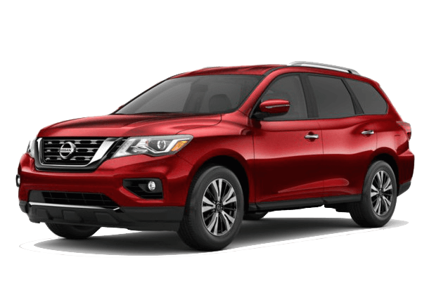 A red 2019 Nissan Pathfinder