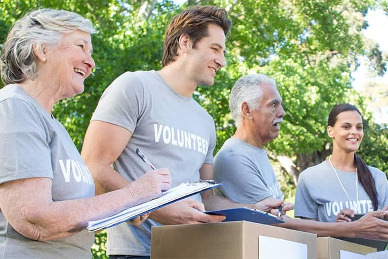 Donation Volunteers with a Clipboard mobile