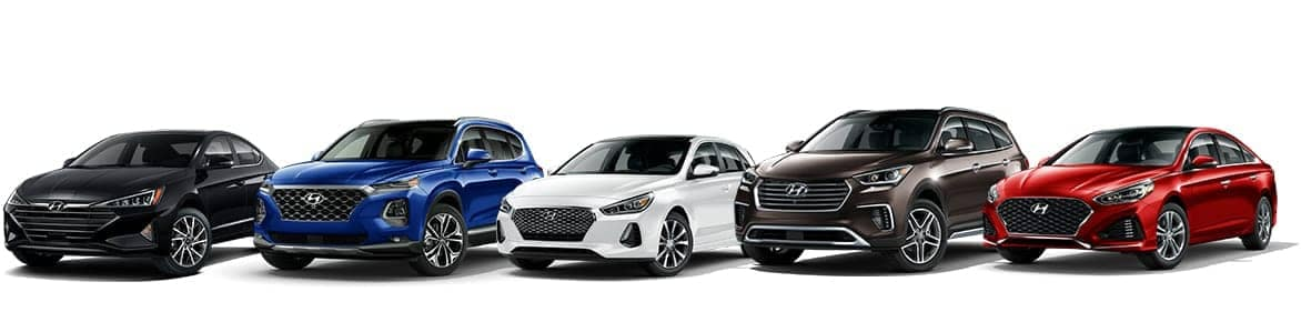 Multiple Hyundai Vehicles Lined Up