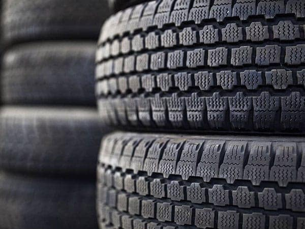 Close up of a stack of tires