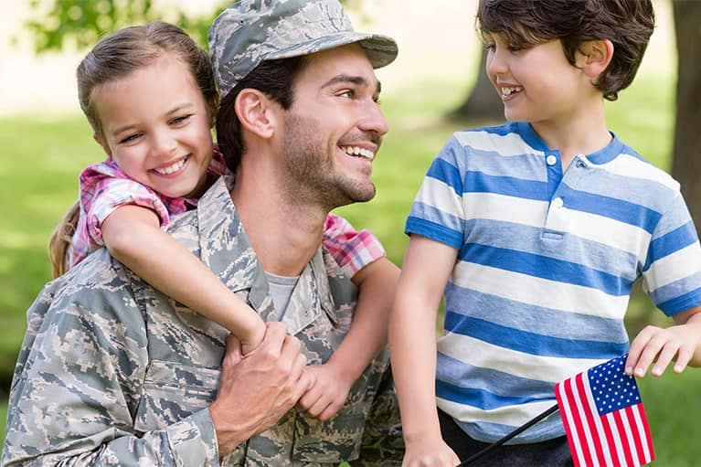 Military Man with Kids