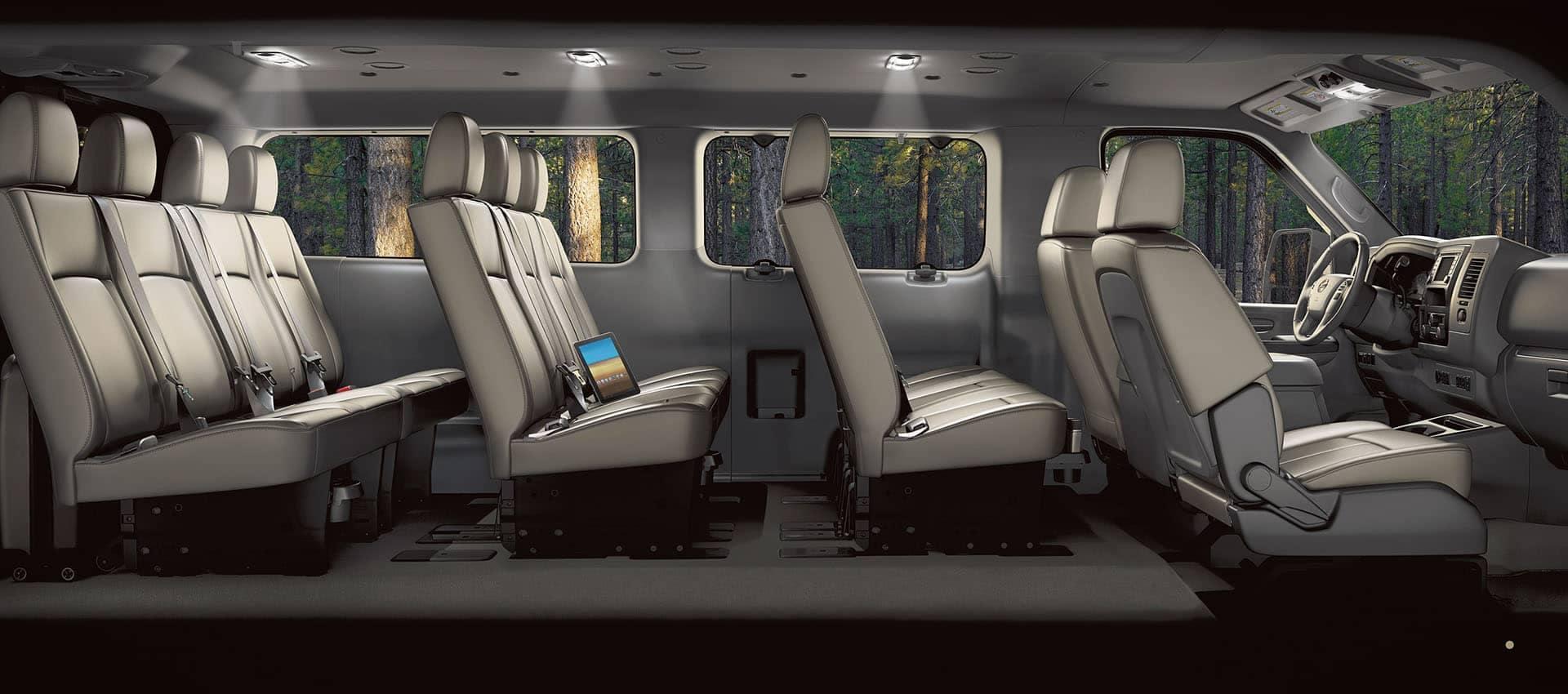 2020 Nissan NV Passenger interior showing 12 seats