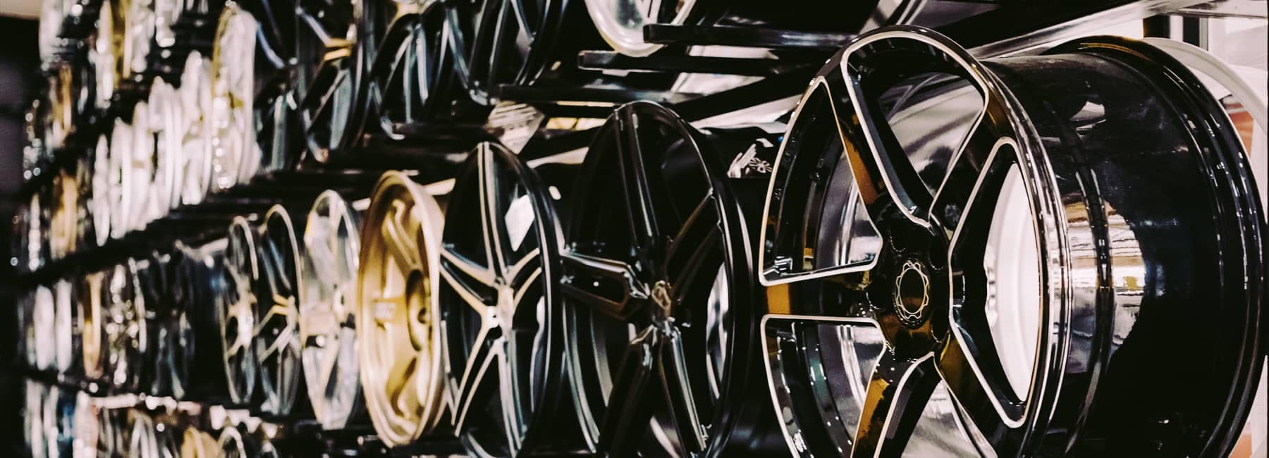 Wall of Alloy Wheels