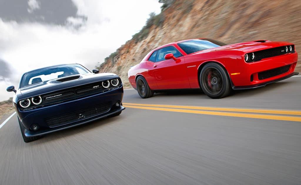 2015 Dodge Challenger SRT (left) and Dodge Challenger SRT Supercharged (right)