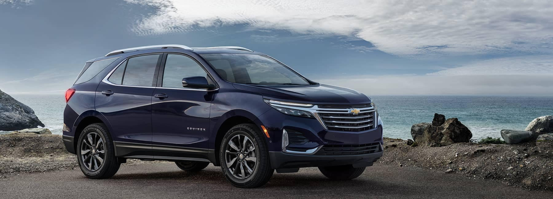 Blue 2021 Chevrolet Equinox Along the Ocean