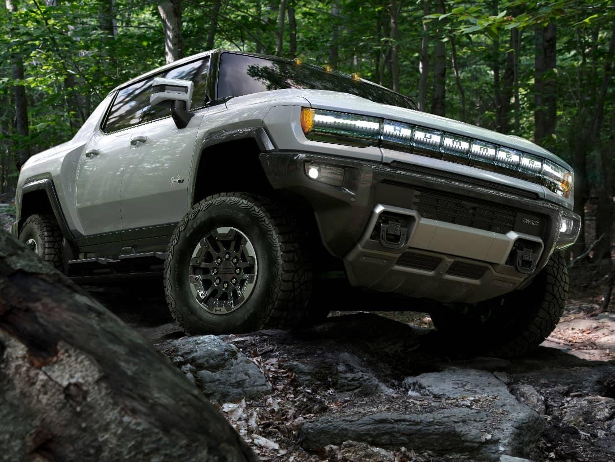 GMC Hummer EV on Rocks