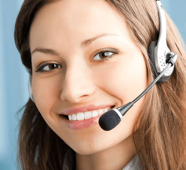 smiling woman answers call on headset