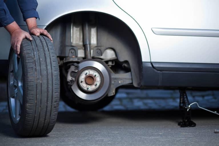 Mechanic Changing a Tire