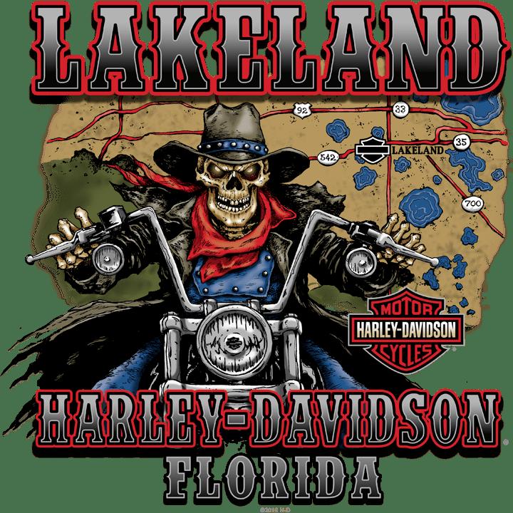 Lakeland logo  with skeleton riding motorcycle