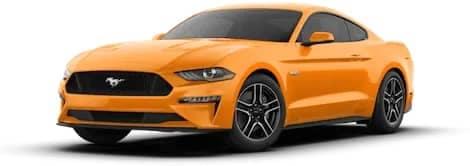 orange Ford Mustang GT Premium Fastback