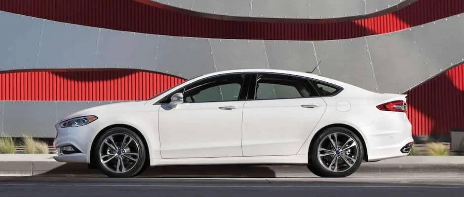 white ford fusion side view