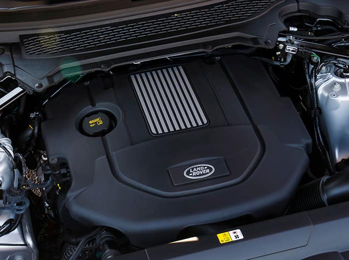 A square image of a land rover engine that looks like it makes the vehicle run very smoothly