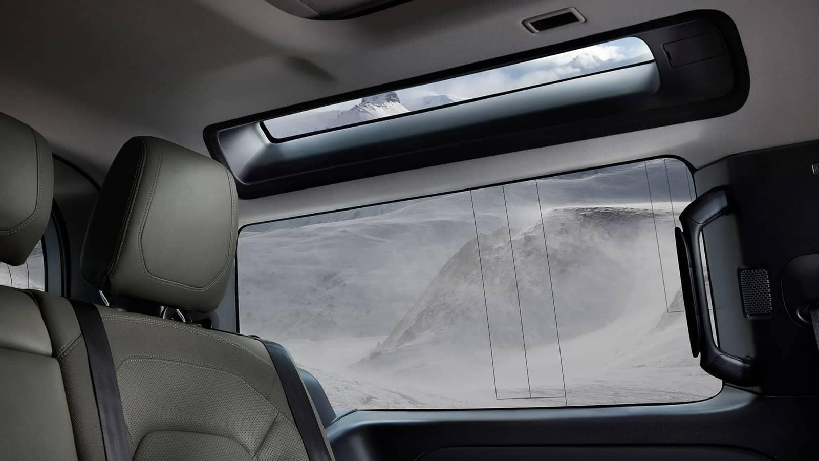 view of mountain landscape outside Defender window