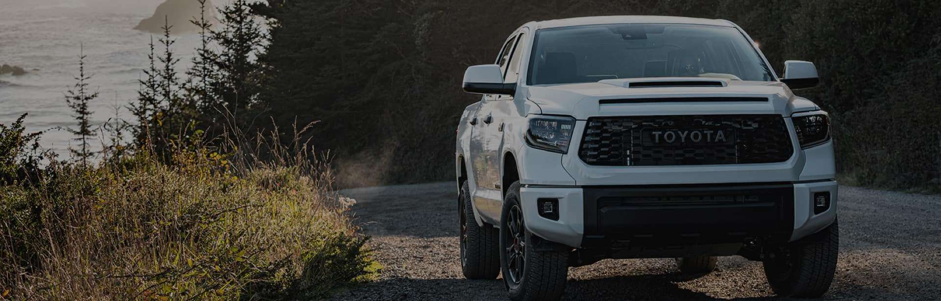 White Tooyoota Pickup Truck on Mountain Road