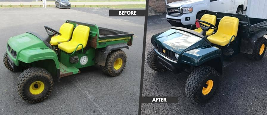 Collision Center before and after of a tractor