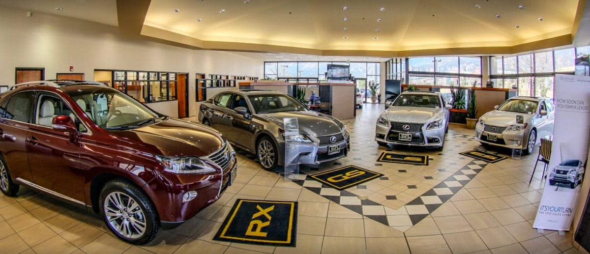 Inside view of the showroom at Lexus of Colorado Springs