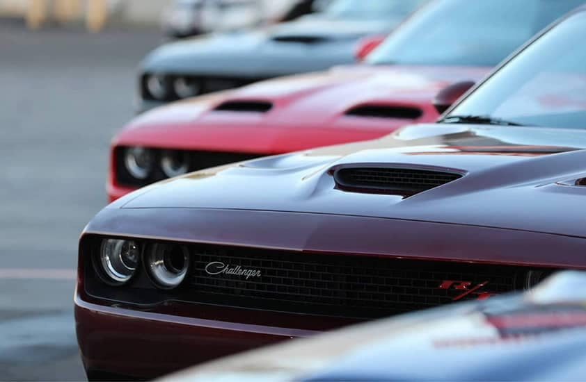 2020 Dodge Challengers lined up