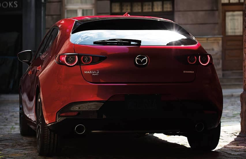 Rear view of Mazda3 vehicle
