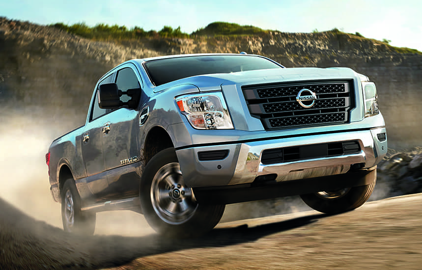 Nissan Titan driving up a hill