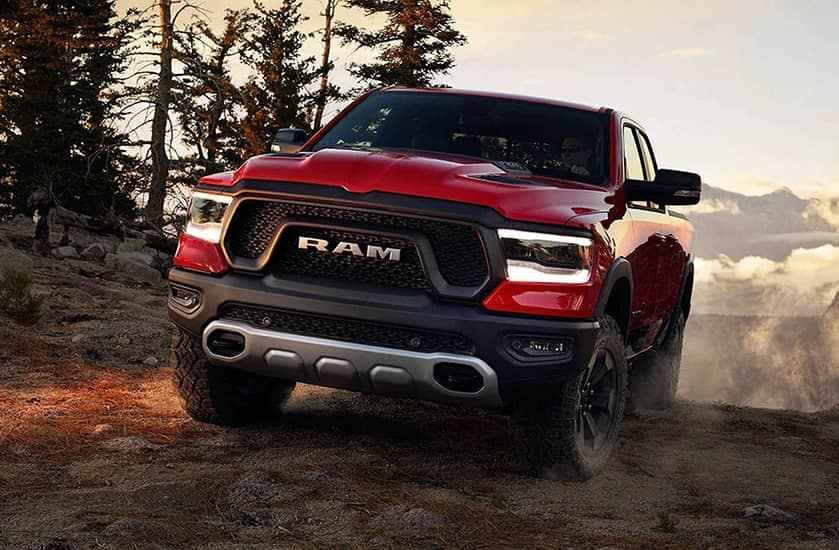 Red Ram front view on dirt road