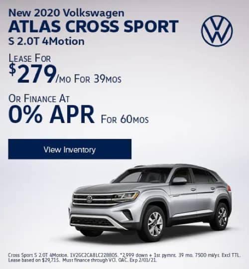 VW Specials - New 2020 Volkswagen Atlas Cross Sport S 2.0T 4Motion