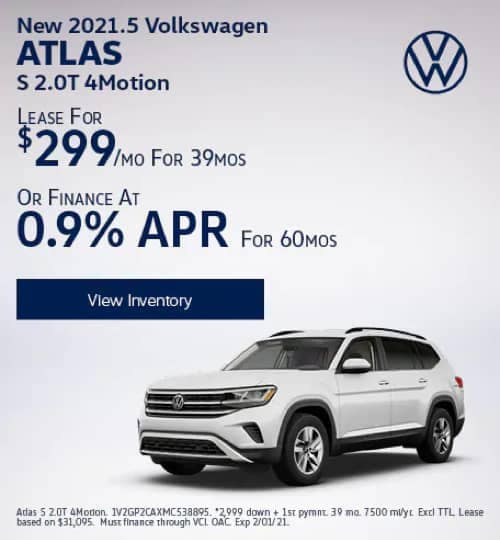 VW Specials - New 2020 Volkswagen Atlas S 2.0T 4Motion