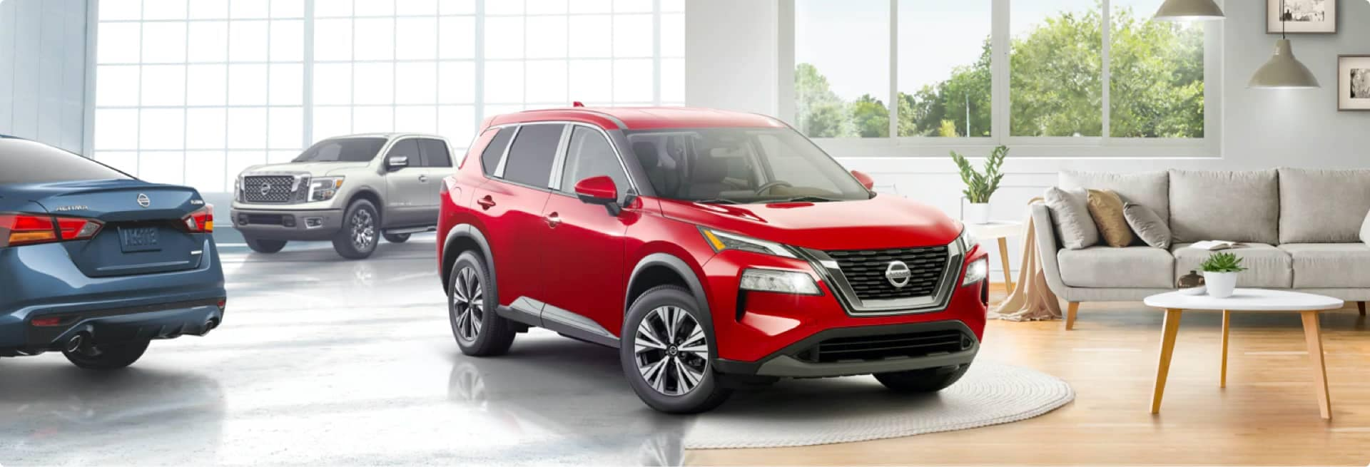 Luther Nissan SEO Image - Red Nissan SUV in the Showroom