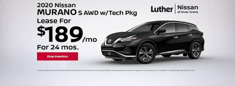 Luther Nissan Specials - 2020 Nissan Murano S AWD - Lease for $189mo for 24mo