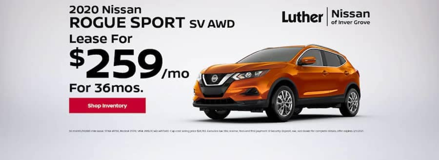 Luther Nissan Specials - 2020 Nissan Rogue Sport SV AWD - Lease for $259mo for 36mo
