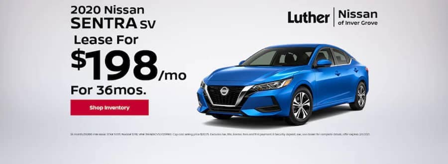 Luther Nissan Specials - 2020 Nissan Sentra SV - Lease for $198mo for 36mo