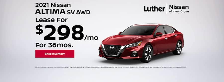 Luther Nissan Specials - 2021 Nissan Altima SV AWD - Lease for $298mo for 36mo