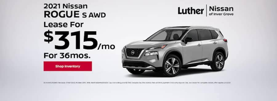 Luther Nissan Specials - 2021 Nissan Rogue s AWD - Lease for $225mo for 36mo