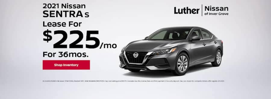Luther Nissan Specials - 2021 Sentra S - Lease for $225mo for 36mo
