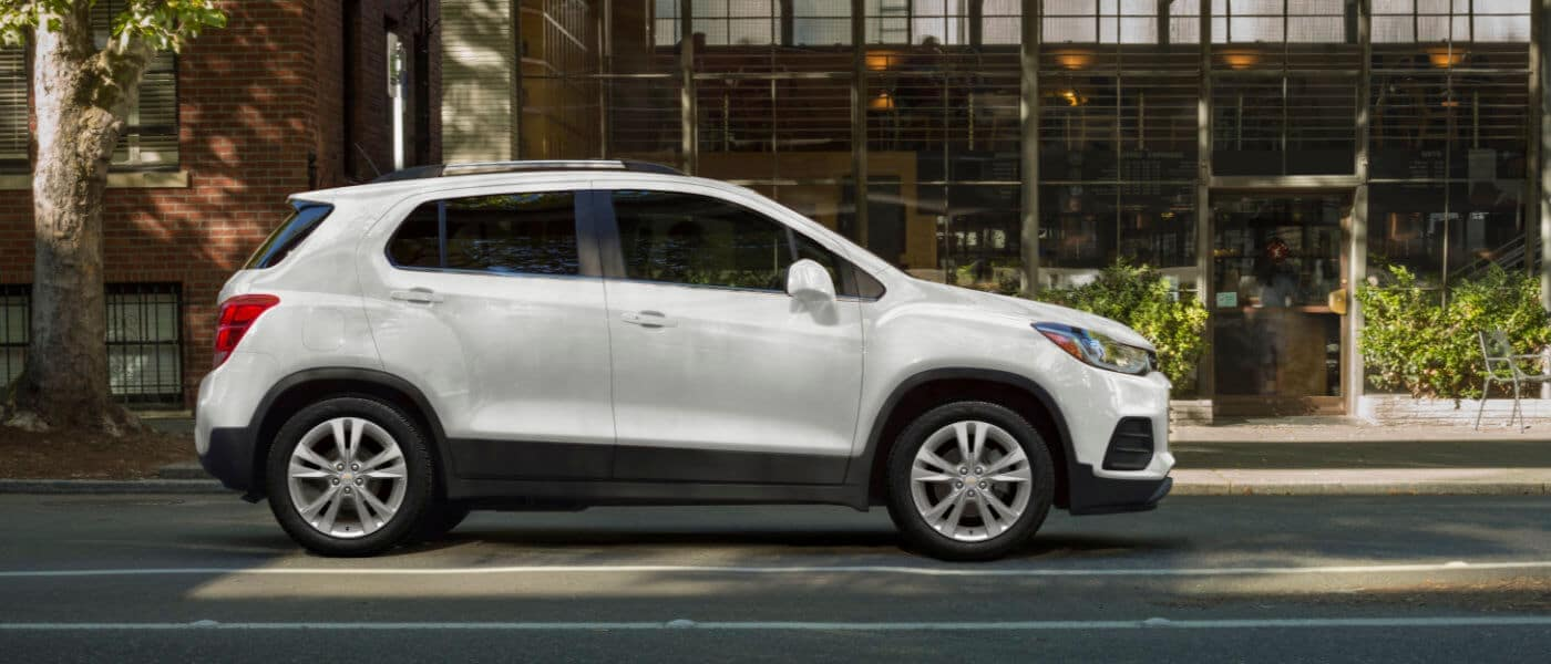 2019 White Chevy Trax Parked in Front of a Building